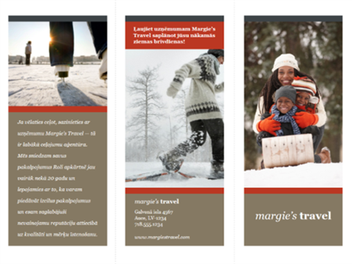 Trīskārt locīta ceļojumu brošūra (sarkanā un pelēkā krāsā)