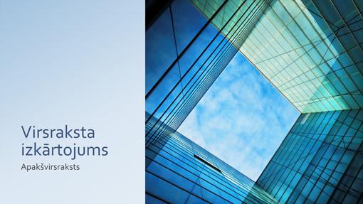 Biznesa mārketinga prezentācija ar stiklotas ēkas noformējuma elementiem (platekrāna)