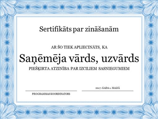 Sertifikāts par zināšanām (ar formālu apmali zilā krāsā)