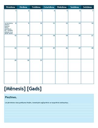 Viena mēneša akadēmiskais kalendārs (sākas ar pirmdienu)