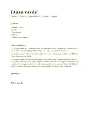 CV motivācijas vēstule (zaļa)