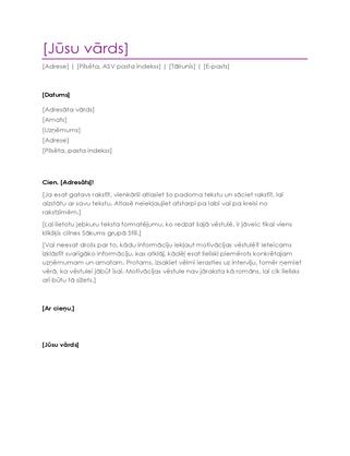 CV motivācijas vēstule (violeta)