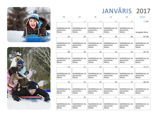 2017.gada fotoattēlu kalendārs (no pirmdienas līdz sestdienai/svētdienai)
