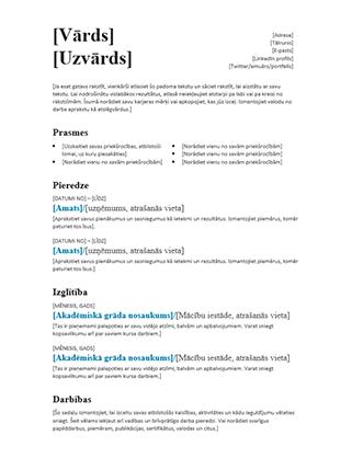 Līdzsvarots CV (moderns noformējums)