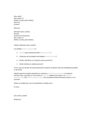 Atsākt pavadvēstuli nepieprasītam CV