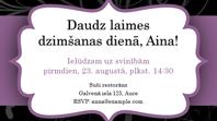 Ielūgums uz viesībām (violetas lentes noformējums)