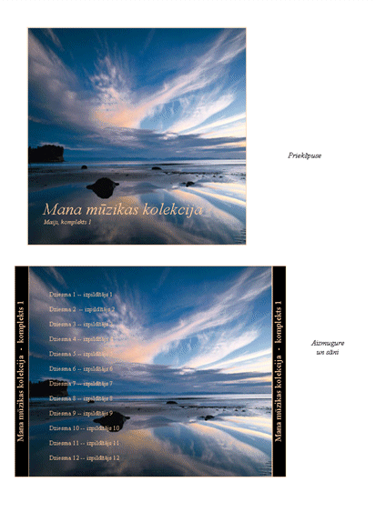 Mūzikas kolekcijas kompaktdisku vāciņu ieliktņi