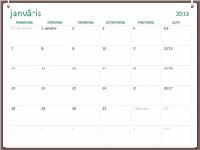 2013. gada kalendārs ar divu gredzenu noformējumu (no pirmdienas līdz svētdienai)