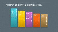 SmartArt slaids— dilstošo bloku saraksts (daudzkrāsaini bloki uz pelēka fona), platekrāna