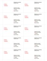 Vizītkartes (sarkans noformējums, 10vienā lappusē)