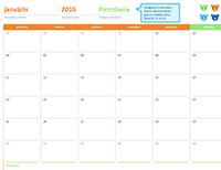 """Mēneša kalendārs jebkuram gadam (12lapas, noformējums """"Varavīksnes lāči"""")"""