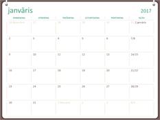 2017.gada kalendārs (no pirmdienas līdz svētdienai, divu gredzenu motīvs)