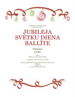 Ielūgums uz svinībām ar sarkaniem un zaļiem ornamentiem (formāls noformējums)