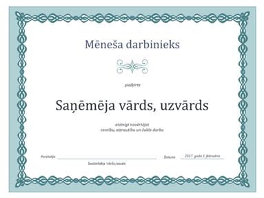 Mēneša labākā darbinieka sertifikāts (noformējums ar zilu ķēdi)