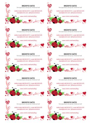 Kad perniagaan (kumbang kekura dan hati, berpusat, 10 setiap halaman)