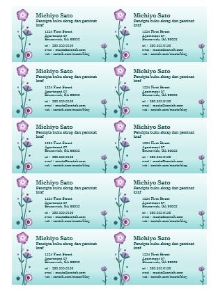 Kad perniagaan (ilustrasi bunga, 10 setiap halaman)