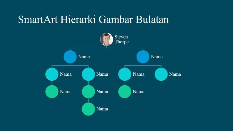 Slaid Carta Organisasi Hierarki Gambar Bulatan (putih atas biru), skrin lebar
