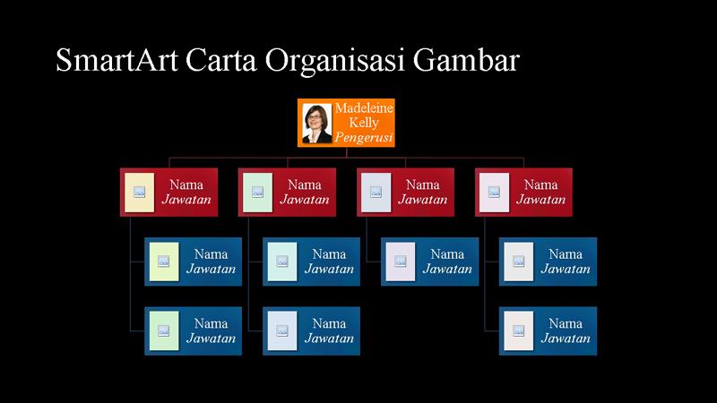 Slaid Carta Organisasi Gambar (berbilang warna pada hitam), skrin lebar