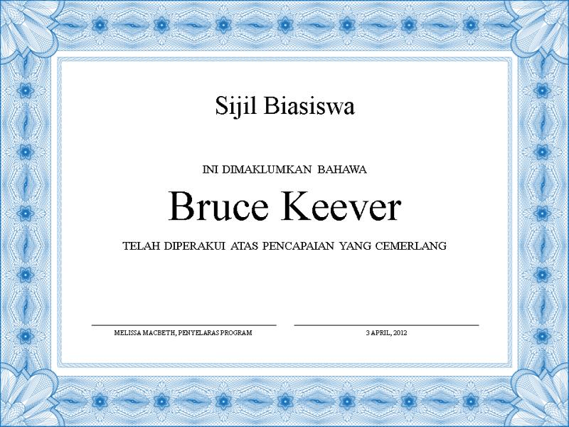 Sijil Biasiswa (sempadan biru formal)