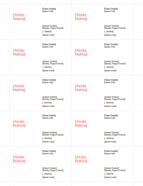 Kad nama (Reka bentuk Merah, 10 setiap halaman)