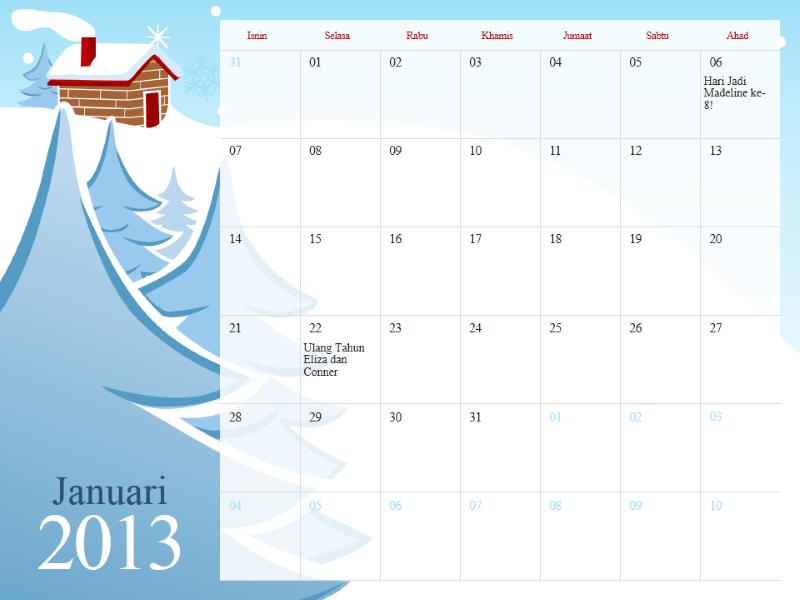 Kalendar bermusim berilustrasi 2013, Isnin-Ahad