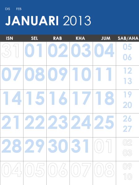 Kalendar 2013-2014, berbilang warna (I-Aha)