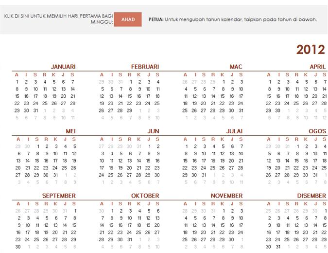 Kalendar global tahun lengkap