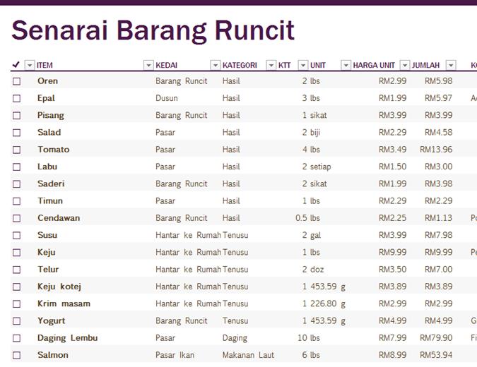 Senarai Barang Runcit Office Templates