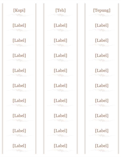 Label Jar (Reka bentuk perkakas dapur, 30 setiap halaman, berfungsi dengan Avery 5160)