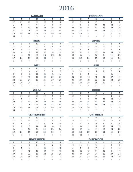 Kalendar satu tahun