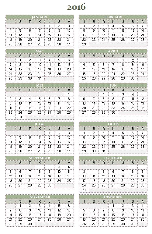 Kalendar tahunan 2016-2025 ( Isn-Ahd )