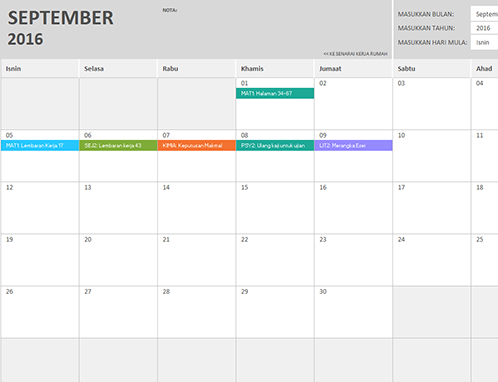 Kalendar kerja rumah