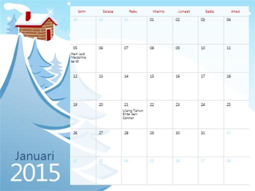 Kalendar bermusim berilustrasi 2015 (Isn-Ahd)
