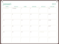 Reka bentuk dwigelang kalendar 2013 (Isn-Ahd)