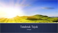 Persembahan biru berjalur dengan foto matahari terbit di gunung (skrin lebar)