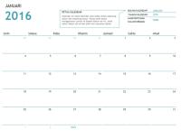 Kalendar satu bulan dengan nota