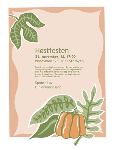 Flygeblad for høsttilstelning (med gresskar)