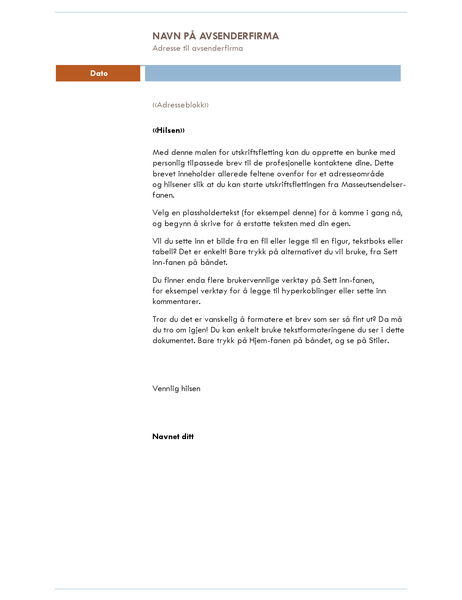 Utskriftsfletting til brev (mediantema)