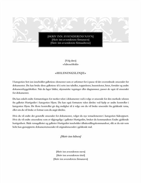 Utskriftsfletting, brev (svart sløyfe)