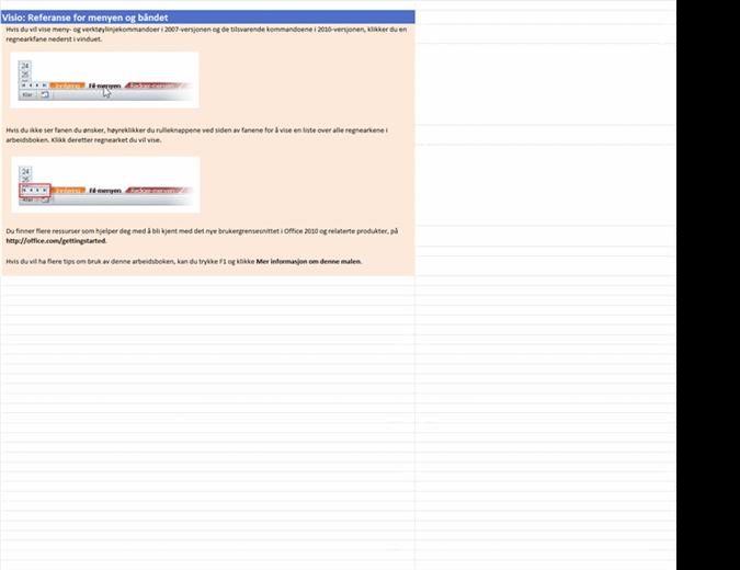 Visio 2010: Referansearbeidsbok for meny til bånd