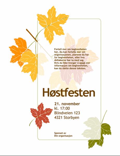 Flygeblad for høsttilstelning (med blader)