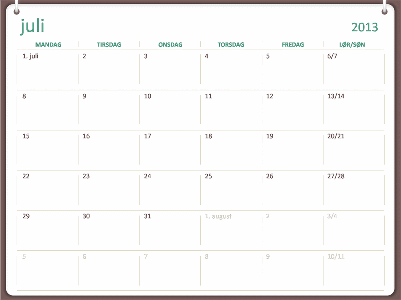 Akademisk kalender for 2013-2014 (juli)