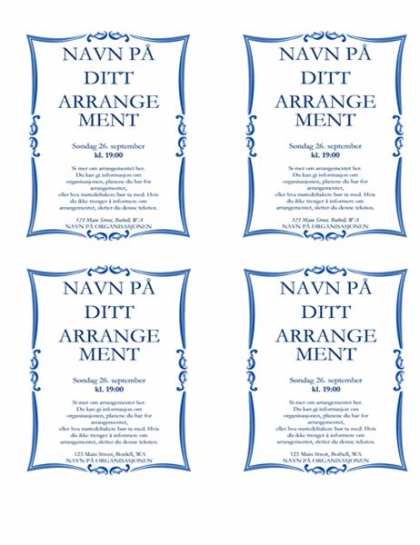 Flygeblad for arrangement (4 på 1 ark)