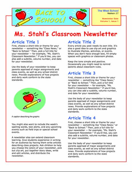 Klasseromsnyhetsbrev (2 spalter, 2 sider)