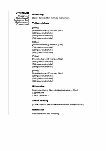 Kronologisk CV (loddrett tema)