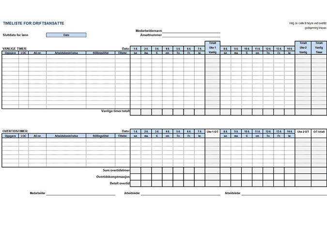 Timekort for driftsansatte