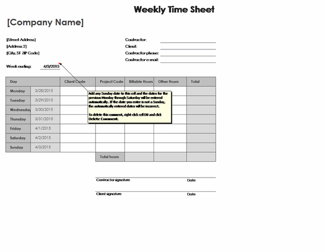 Weekly Time Sheet by Client and Project