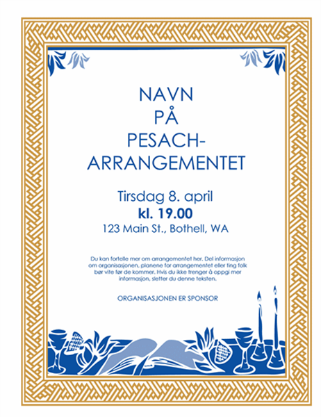 Flygeblad for pesach-arrangement