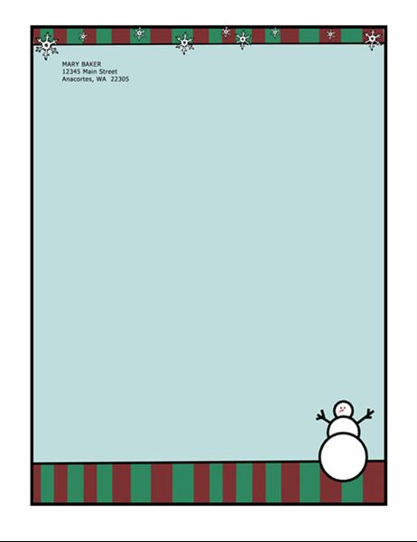 Brevpapir for høytid (med snømann)