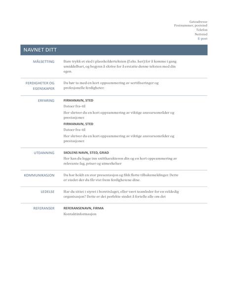 CV (Tidløs utforming)
